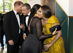 July 14, 2019 - London, London, United Kingdom - Image licensed to i-Images Picture Agency. 14/07/2019. London, United Kingdom. Prince Harry, the Duke of Sussex and Meghan Markle The Duchess of Sussex with Beyonce at the premiere of The Lion King in London  (Credit Image: © Pool/i-Images via ZUMA Press)