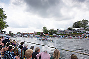 Henley on Thames, England, United Kingdom, 7th July 2019, Kings' Cup Final, passing the progress board,  United States Armed Forces, U.S.A. pull half a length, lead over the Bundeswehr, Germany, with the Henley Royal Regatta, Finals Day, Henley Reach, [© Peter SPURRIER/Intersport Image]<br /> <br /> 15:07:31 1919 - 2019, Royal Henley Peace Regatta Centenary,