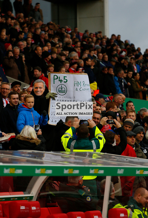 A fan gives Van Gaal stick during Stoke City v Manchester United, Barclays Premier League, Saturday 26th December 2015, Britannia Stadium, Stoke