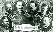 Members of the provision German Government, the Rat der Volksbeauftragten, created by the Social Democratic Party in the course of the Revolution of November 1918. From left to right Wilhelm Dittmann (1874-1954) Otto Landsberg (1869-1957) Hugo Haase.
