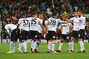 Derby County forward David Nugent (28) scores a goal and the Derby players celebrate during the EFL Sky Bet Championship match between Derby County and Brentford at the Pride Park, Derby, England on 22 September 2018.