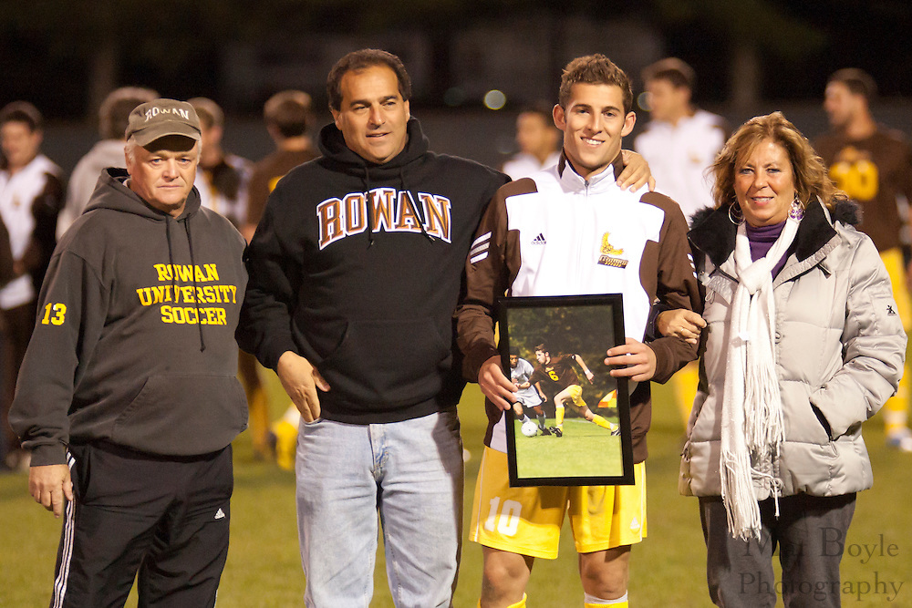 Rowan University Men's Soccer Senior Night halftime ceremony.