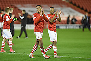 Jacob Brown of Barnsley FC celebrates after the EFL Sky Bet Championship match between Barnsley and Huddersfield Town at Oakwell, Barnsley, England on 11 January 2020.