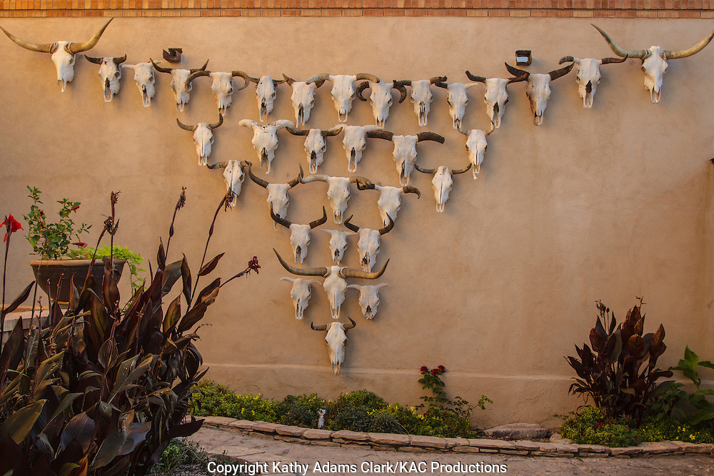 The Gage Hotel, located on US 90, Marathon, Texas, west Texas, cow skulls adorn a wall.