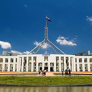 "Parliament House is the meeting place of the Parliament of Australia. It is located in Canberra, the capital of Australia. It was opened on 9 May 1988 by Queen Elizabeth II, Queen of Australia.[1] Its construction cost was over $1.1 billion. At the time of its construction it was the most expensive building in the Southern Hemisphere. Prior to 1988, the Parliament of Australia met in the Provisional Parliament House, which is now known as ""Old Parliament House""."