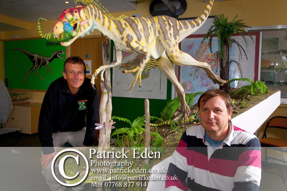 (L) Peter Pusey, Andrew Cox, Eotryannus, Dinosaur, model, Dinosaur World, Isle of Wight, England, UK, Photographs of the Isle of Wight by photographer Patrick Eden photography photograph canvas canvases