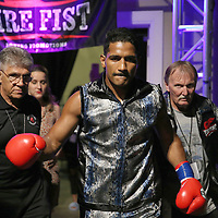 Yamaguchi Falcao walks to the ring prior to his fight against Taronze Washington during a Fire Fist Boxing Promotions boxing match at the A La Carte Pavilion on Saturday, August 12 , 2017 in Tampa, Florida.  (Alex Menendez via AP)