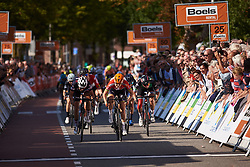 Amalie Dideriksen (DEN) in the final sprint against Lucinda Brand (NED) and Lorena Wiebes (NED) at Boels Ladies Tour 2018 - Stage 4, a 124.3km road race from Stramproy to Weert, Netherlands on August 31, 2018. Photo by Sean Robinson/velofocus.com