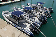 Rayglass Protector RIBs with Yamaha Outboards to be used as Official and Umpire Boats during the Louis Vuitton Pacific Series lined up at the Viaduct Harbour in Auckland. 23/1/2009