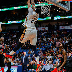 Jan 22, 2018; New Orleans, LA, USA; New Orleans Pelicans forward Anthony Davis (23) with a reverse dunk against the Chicago Bulls during the fourth quarter at the Smoothie King Center. The Pelicans defeated the Bulls 132-128 in double overtime. Mandatory Credit: Derick E. Hingle-USA TODAY Sports