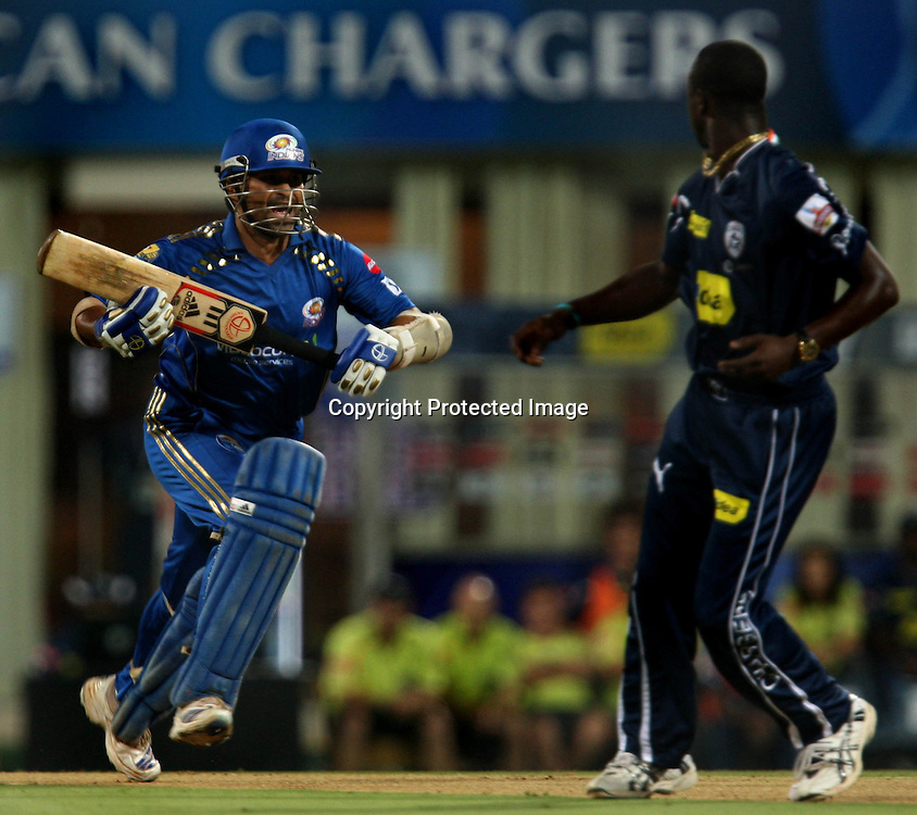Mumbai Indians Batsman Sachin Tendulkar Runnig A Run  Against Deccan Chargers During The Deccan Chargers vs Mumbai Indians, 25th Twenty20 match Indian Premier League- 2009/10 season Played at Dr DY Patil Sports Academy, Mumbai 28 March 2010 - day/night (20-over match)