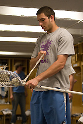 22 March 2008: North Carolina Tar Heels goalkeeper Chris Madalon (11) in the locker room before playing the Maryland Terrapins at Fetzer Field in Chapel Hill, NC.