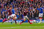 Ryan Jack of Rangers FC shoots on target during the Betfred Scottish League Cup semi-final match between Rangers and Heart of Midlothian at Hampden Park, Glasgow, United Kingdom on 3 November 2019.