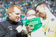 Neil Lennon with Ofir Marciano and baby Sun after the Ladbrokes Scottish Premiership match between Hibernian and Rangers at Easter Road, Edinburgh, Scotland on 13 May 2018. Picture by Kevin Murray.