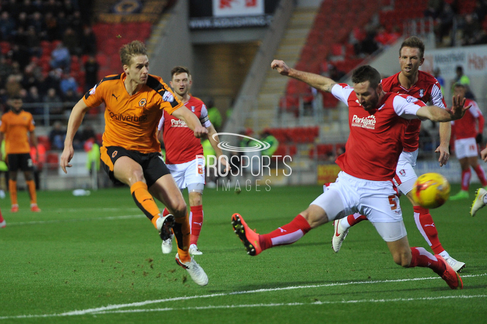Wolverhampton Wanderers midfielder Dave Edwards shoots at goal  during the Sky Bet Championship match between Rotherham United and Wolverhampton Wanderers at the New York Stadium, Rotherham, England on 5 December 2015. Photo by Ian Lyall.