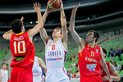 Bodgan Bogdanovic of Serbia vs Alejandro Abrines of Spain and Pere Oriola of Spain during basketball match between National teams of Serbia and Spain in for third place match of U20 Men European Championship Slovenia 2012, on July 22, 2012 in SRC Stozice, Ljubljana, Slovenia. (Photo by Matic Klansek Velej / Sportida.com)