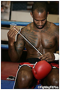 Jimi 'Poster-Boy' Manuwa.Keddles Gym Session 1 of day. Pads and Bags Workout.Weds 21-7-2010..
