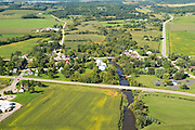 Aerial view of Paoli, Wisconsin and the Sugar River on an early autumn day