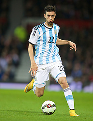 MANCHESTER, ENGLAND - Tuesday, November 18, 2014: Argentina's Javier Pastore in action against Portugal during the International Friendly match at Old Trafford. (Pic by David Rawcliffe/Propaganda)