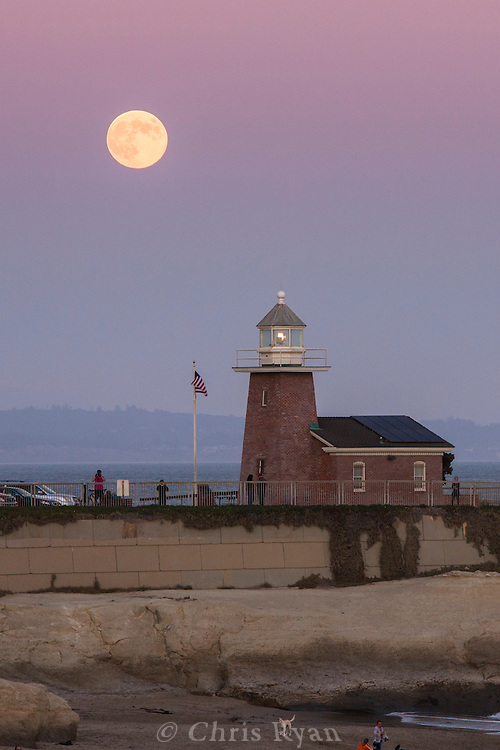 Lighthouse in front of a super moon, Santa Cruz, California