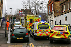 © Licensed to London News Pictures. 17/12/2019. London, UK. Emergency services outside Harringay overground station. <br /> A person has died after being hit by a train at Harringay overground station in north London. According to the British Transport Police, officers were called to the Harringay overground station shortly before 11.50 am of a casualty on the tracks. Paramedics attendance and the person was pronounced dead the the scene.  Photo credit: Dinendra Haria/LNP