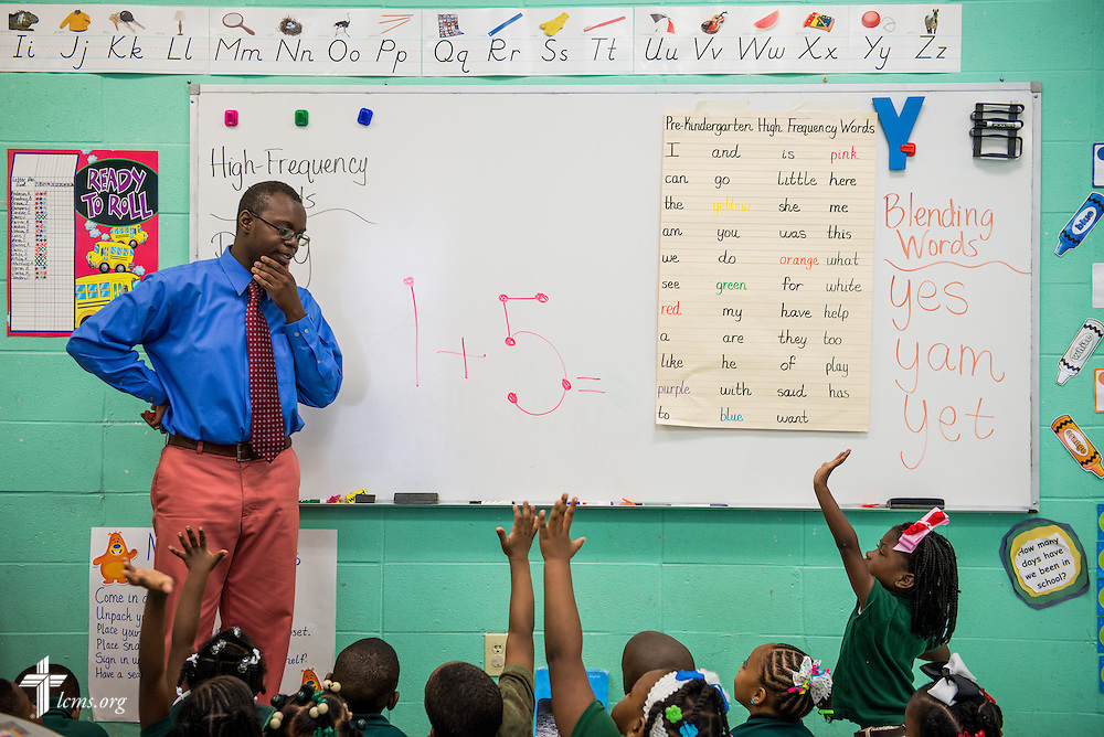 Teacher Jonathan Clausell waits for an answer from his students at Trinity Evangelical Lutheran School on Monday, April 7, 2014, in Mobile, Ala. LCMS Communications/Erik M. Lunsford