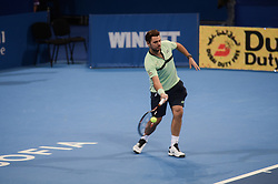 February 10, 2018 - Sofia, Bulgaria - Stan Wawrinka of Switzerland plays a shot in semi final match against Mirza Basic from Bosnia and Herzegovina during DIEMAXTRA Sofia Open 2018 on February 10, 2018, at Arena Armeec Hall in the Bulgarian capital of Sofia, Bulgaria on February 10, 2018  (Credit Image: © Hristo Rusev/NurPhoto via ZUMA Press)