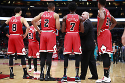 October 24, 2018 - Chicago, IL, USA - Chicago Bulls associate head coach Jim Boylen, with players, during the first half against the Charlotte Hornets at the United Center in Chicago on Wednesday, Oct. 24, 2018. The Bulls won, 112-110. (Credit Image: © Nuccio Dinuzzo/Chicago Tribune/TNS via ZUMA Wire)