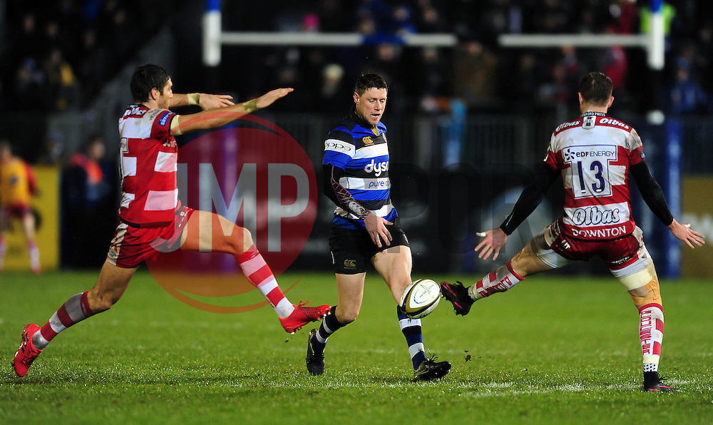 Rhys Priestland of Bath Rugby grubbers the ball - Mandatory byline: Patrick Khachfe/JMP - 07966 386802 - 27/01/2017 - RUGBY UNION - The Recreation Ground - Bath, England - Bath Rugby v Gloucester Rugby - Anglo-Welsh Cup.