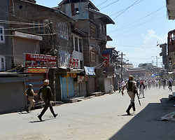 June 2, 2017 - Srinagar, Jammu and Kashmir, India - Clashes erupted in Indian Administered Kashmir over the killing of the local rebel Sabzaar. People assembled outside the grand mosque in Srinagar and shouted slogans in favor of the slain rebel and later clashed with Indian forces. (Credit Image: © Muzamil Mattoo/Pacific Press via ZUMA Wire)
