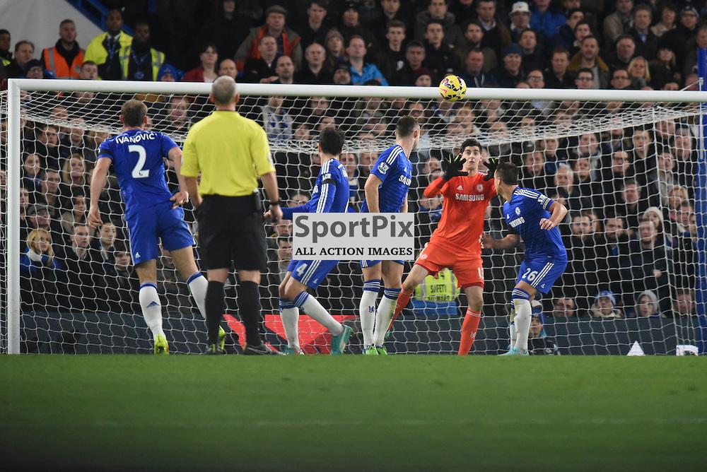 Chelsea GK Thibaut Courtois (13) block the ball during Chelsea v Tottenham Hotspur, Barclays Premier League, 3 December 2014 at Stamford Bridge Stadium, London, England (c) Salvio Calabrese | SportPixPix.org.uk