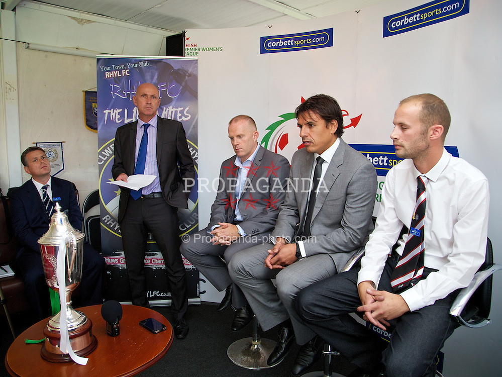 RHYL, WALES - Tuesday, August 20, 2013:Wales team manager Chris Coleman and Marc Lloyd Williams help launch the Corbett Sports Welsh Premier League at Rhyl Football Club. (Pic by David Rawcliffe/Propaganda)