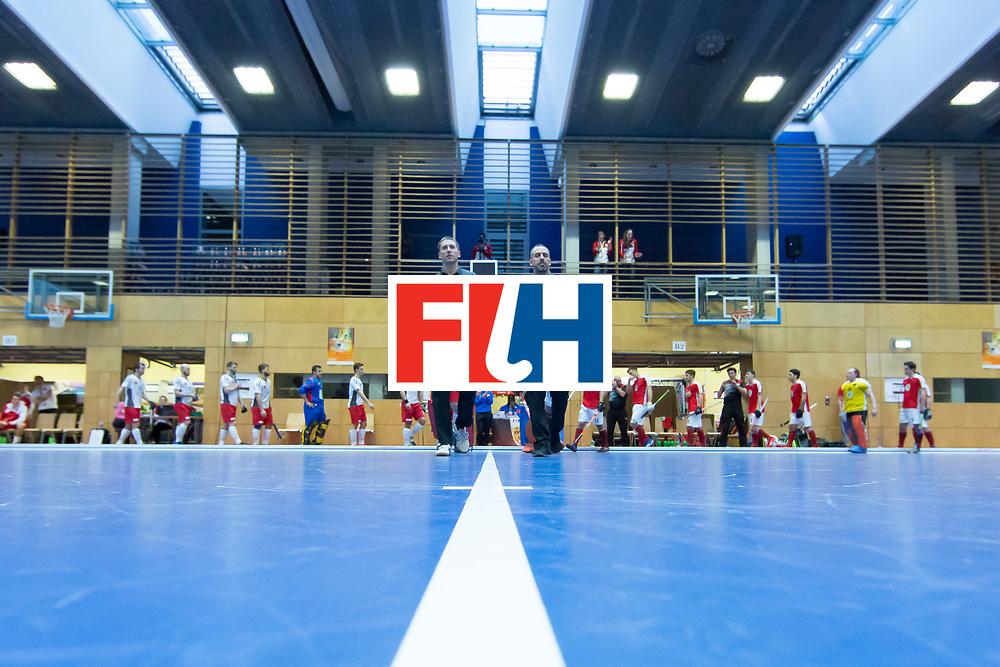 Hockey, Seizoen 2017-2018, 09-02-2018, Berlijn,  Max-Schmelling Halle, WK Zaalhockey 2018 MEN, Austria - Switzerland 2-2, Teams entering the pitch