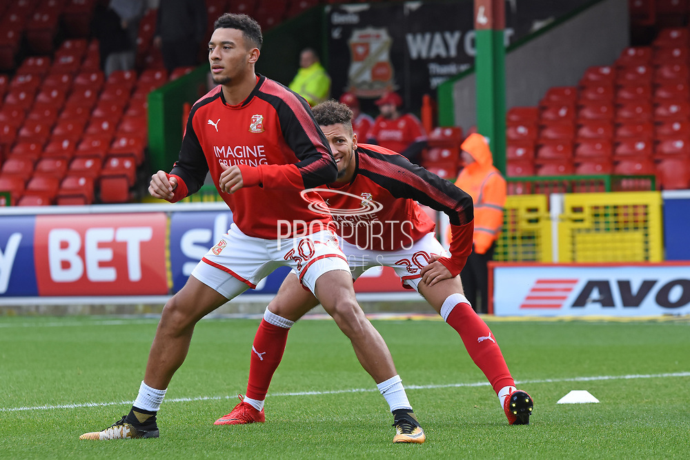 Swindon Town players warm up during the EFL Sky Bet League 2 match between Swindon Town and Chesterfield at the County Ground, Swindon, England on 11 November 2017. Photo by Alan Franklin.