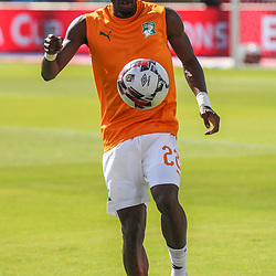 24 June 2019, Egypt, Cairo: Ivory coast's Mamadou Bagayoko warms up prior to the start of the 2019 Africa Cup of Nations Group D soccer match between South Africa and Ivory coast at Al-Salam Stadium. <br /> Photo : PictureAlliance / Icon Sport