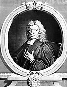 John Flamsteed (1646-1719)  English astronomer and clergyman. Appointed first Astronomer Royal 1675. Engraving by Vertue after portrait of 1712 appearing as frontispiece to first volume of Flamsteed 'Historia Coelestis Britannica' London 1725.