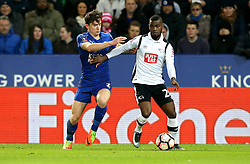 Abdoul Razzagui Camara of Derby County takes on Ben Chilwell of Leicester City - Mandatory by-line: Robbie Stephenson/JMP - 08/02/2017 - FOOTBALL - King Power Stadium - Leicester, England - Leicester City v Derby County - Emirates FA Cup fourth round replay