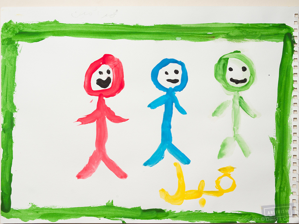 Before the war: people are happy. Drawing by a 10 year old Syrian boy. (Topic for session: draw your impression of life before, during and after the war.)