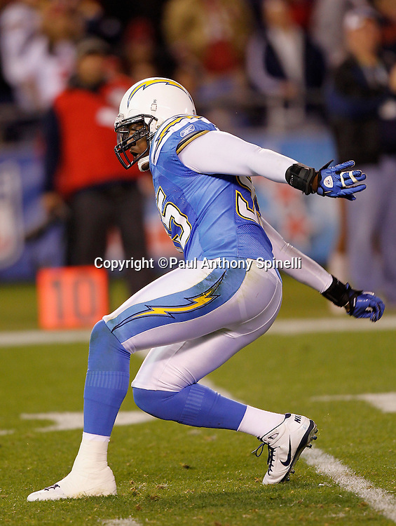 San Diego Chargers linebacker Shaun Phillips (95) bowls a sack strike after a third quarter sack during the NFL week 15 football game against the San Francisco 49ers on Thursday, December 16, 2010 in San Diego, California. The Chargers won the game 34-7. (©Paul Anthony Spinelli)