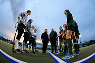 Rice and Bellows Falls captains watch the referee for the coin toss during the semifinal field hockey game between the Rice Green Knights and the Bellows Falls Terriers at Middlebury College on Monday afternoon October 29, 2018 in Middlebury. (BRIAN JENKINS/for the FRESS PRESS)