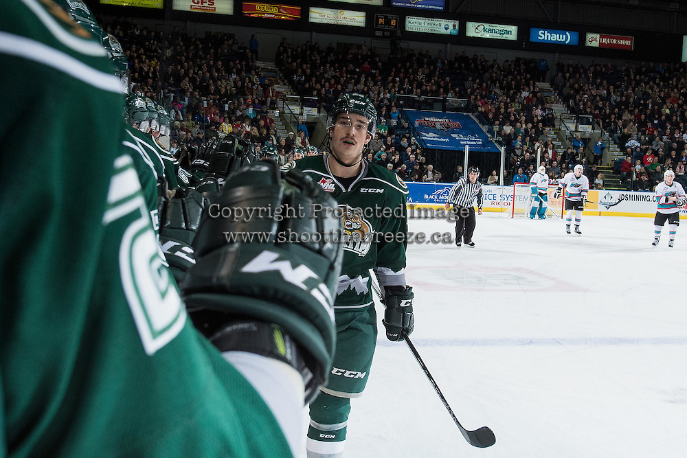 KELOWNA, CANADA - DECEMBER 30: Graham Millar #22 of Everett Silvertips celebrates a goal against the Kelowna Rockets on December 30, 2015 at Prospera Place in Kelowna, British Columbia, Canada.  (Photo by Marissa Baecker/Shoot the Breeze)  *** Local Caption *** Graham Millar;