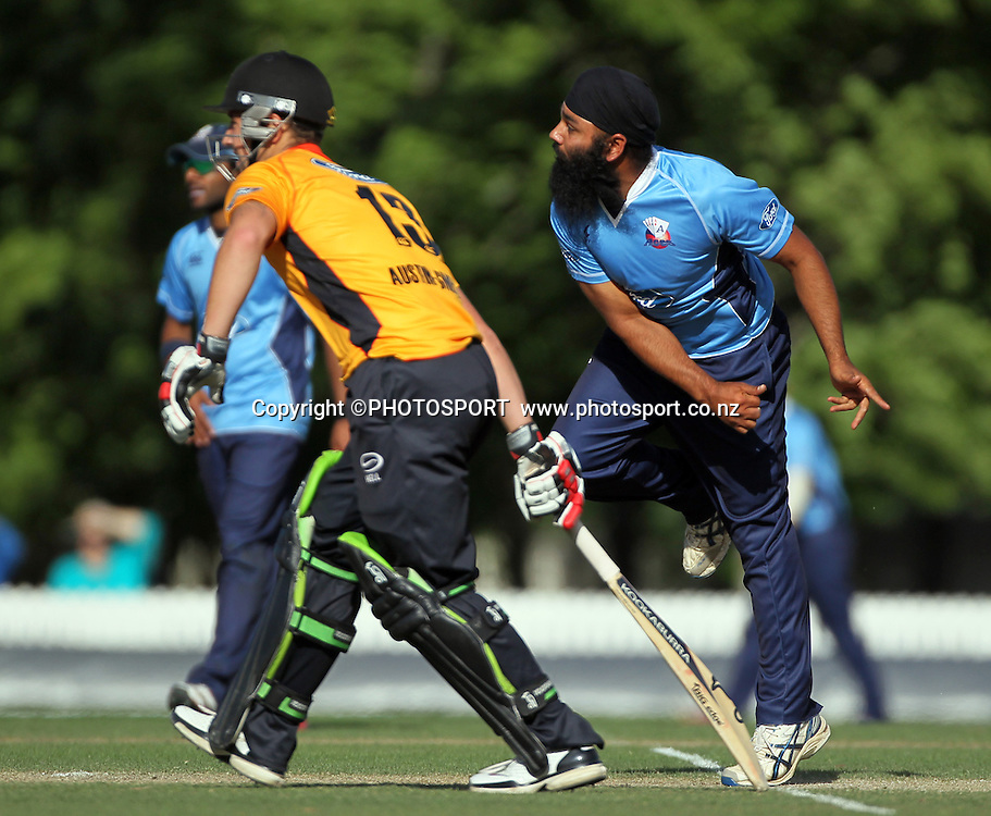 Bhupinder Singh bowling for Auckland Aces. Auckland Aces v Wellington Firebirds,   Ford Trophy one day game held at Burt Sutcliffe Oval, Lincoln, Friday 25 November 2011. Photo : Joseph Johnson / photosport.co.nz
