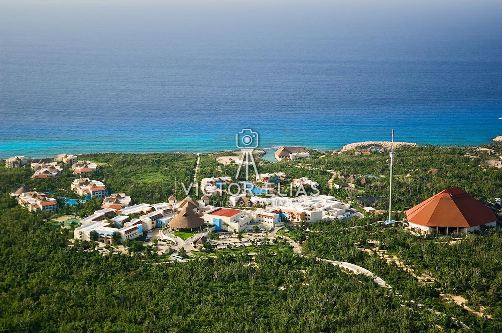 Aerial view of Xcaret park.<br /> Playa del Carmen, Quintana Roo. Mexico