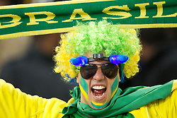 A Brazil fan prior to the 2010 FIFA World Cup South Africa Group G Second Round match between Brazil and République de Côte d'Ivoire on June 20, 2010 at Soccer City Stadium in Soweto, suburban Johannesburg, South Africa. (Photo by Vid Ponikvar / Sportida)