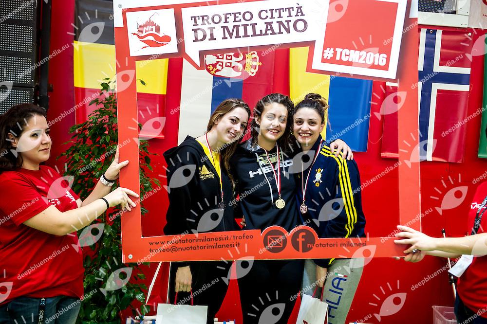 50 rana donne podio<br /> Angiolini Lisa Virtus Buonconvento, Carraro Martina azzurra91, Scarcella Ilaria Aniene<br /> VI Trofeo Citta di Milano Swimming Nuoto<br /> Day 01 - 18 Marzo 2016<br /> D. Samuele Swimming Pool<br /> Milano Italy<br /> Photo P.Mesiano/Deepbluemedia/Inside