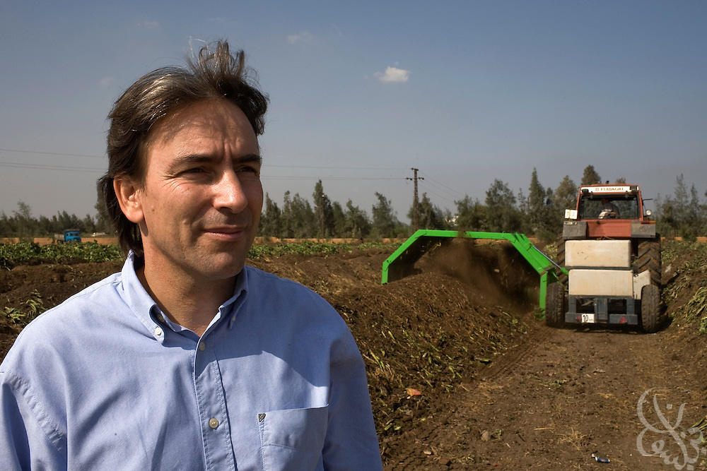 Helmy Abouleish, (c) Managing Director of the leading Egyptian Organic foods and products producer, Sekem Group, looks over a giant composting operation at the Sekem farm Nov 4, 2008 in Belbeis, Egypt. Helmy's father, Dr. Ibrahim Abouleish founded the project in 1977 on what was then barren desert, and since has grown it into a lush oasis ecompassing several farms, production plants, schools and even a local medical facility.