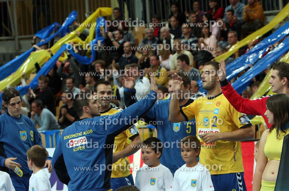 Team Cimos Koper before handball match RK Cimos Koper vs Chehovskie Medvedi (RUS) in E group of EHF Champions league Men 2008/2009, on October 4, 2008 in Arena Bonifika, Koper, Slovenia. Chehovskie Medvedi won 35:28. (Photo by Vid Ponikvar / Sportal Images)
