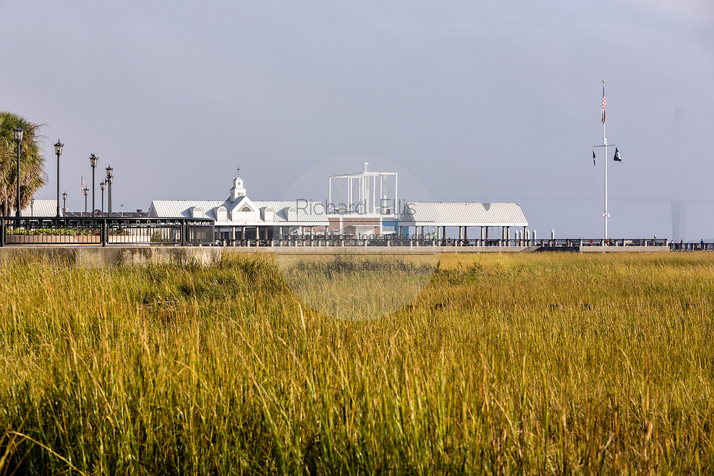 View of the marsh and pier shelters along Waterfront Park on a foggy morning in historic Charleston, SC.