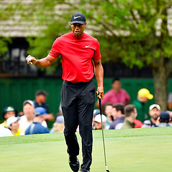 Apr 14, 2019; Augusta, GA, USA; Tiger Woods after making a birdie putt on the 3rd green during the final round of The Masters golf tournament at Augusta National Golf Club. Photo : Michael Madrid / SUSA / Icon Sport