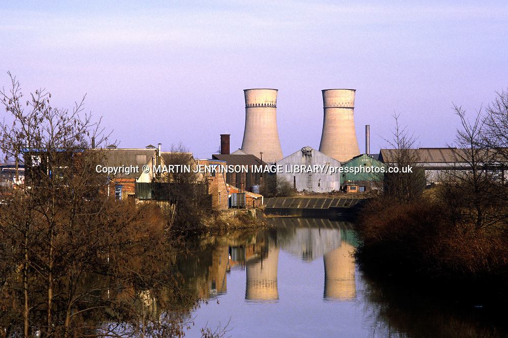 River Don flows through the industrial area at Meadowhall in Sheffield.....